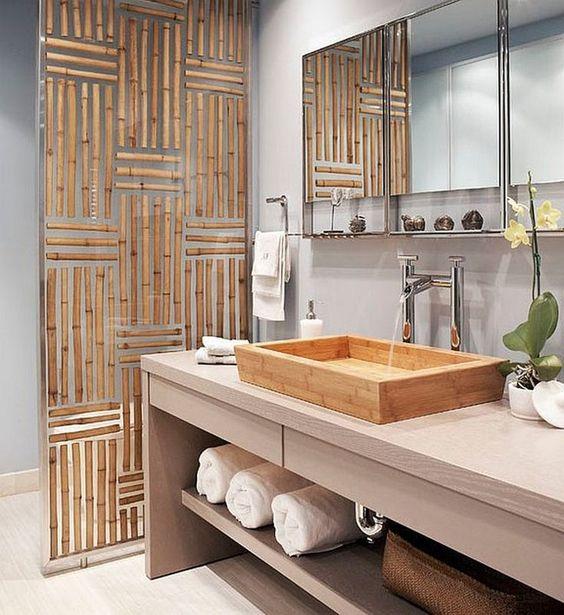 Бамбук в оформлении ванной