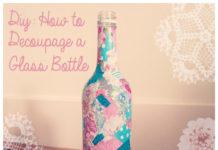 Декупаж стеклянной бутылки