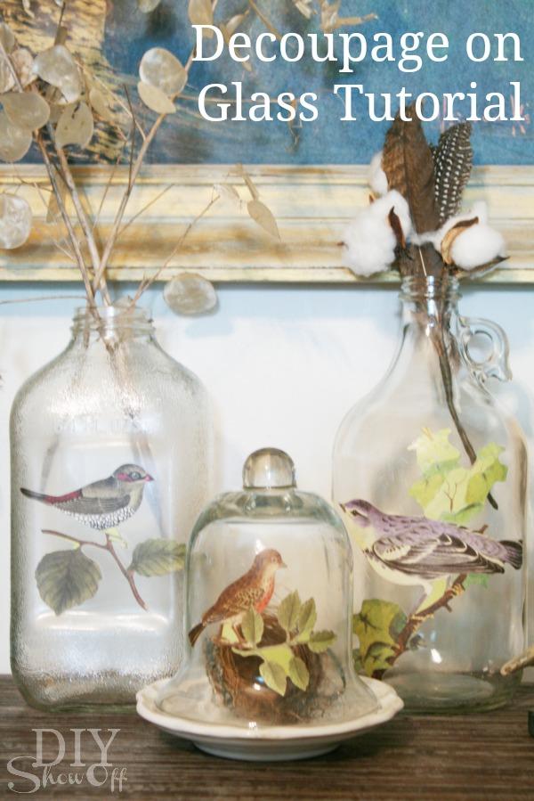 Декупаж стеклянной вазы фото
