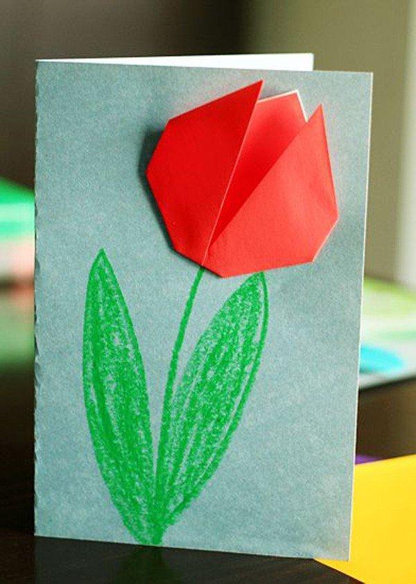 Бандитские, тюльпаны на открытку своими руками из бумаги