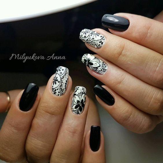 Фото дизайн ногтей с черным цветом