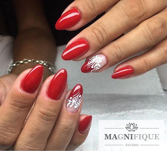 Красный маникюр с дизайном фото 2017