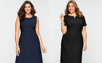 мода для полных: деловые платья