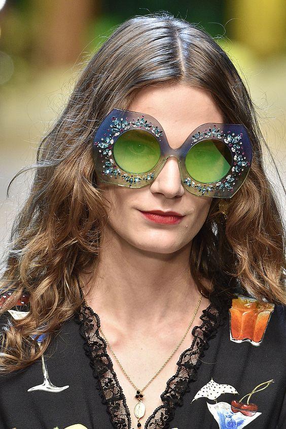 Очки оверсайз с зелеными стеклами