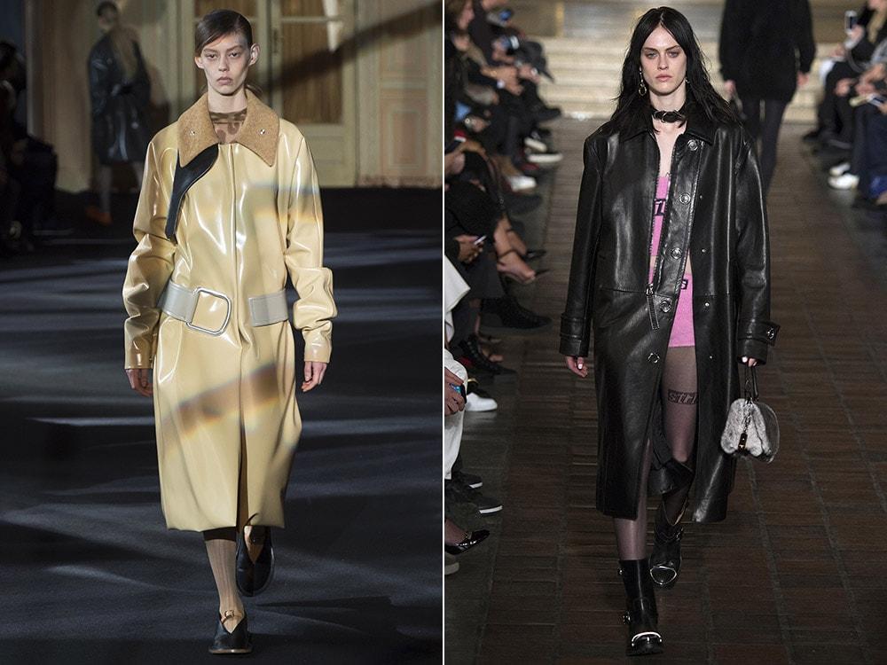 Кожаные стильные пальто