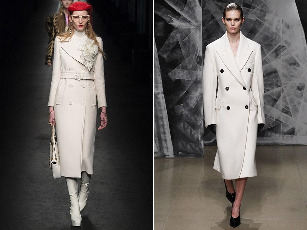 Стильное классическое белое пальто