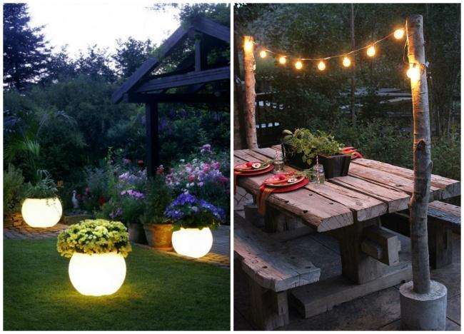 светящиеся объекты в саду