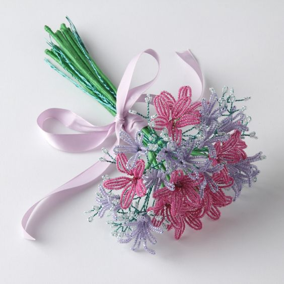Красивый цветок из бисера схема фото 616