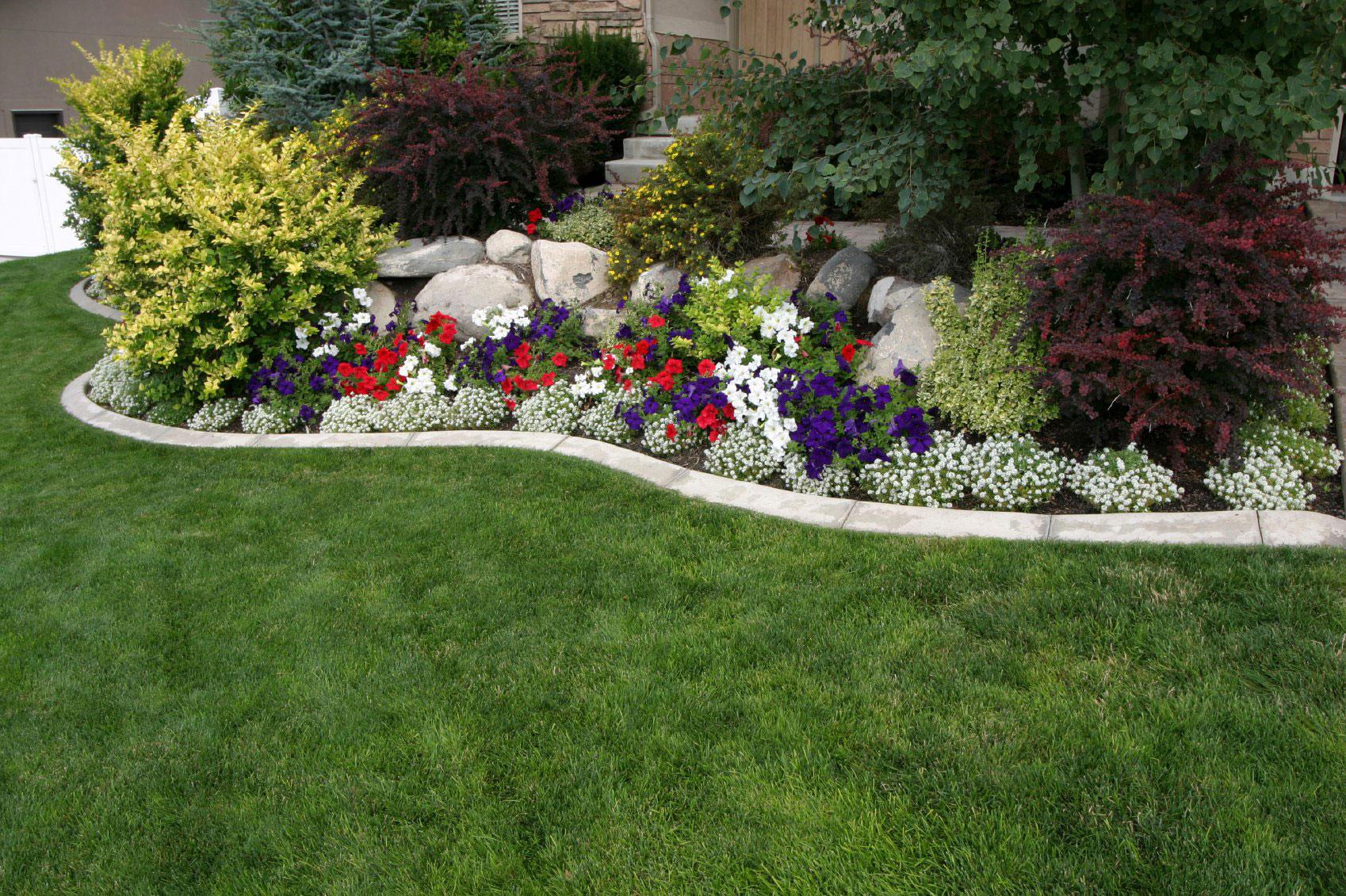 Дизайн цветников и газонов фото одно