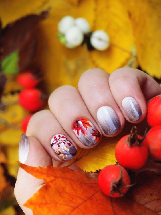 рисунки осень на ногтях фото