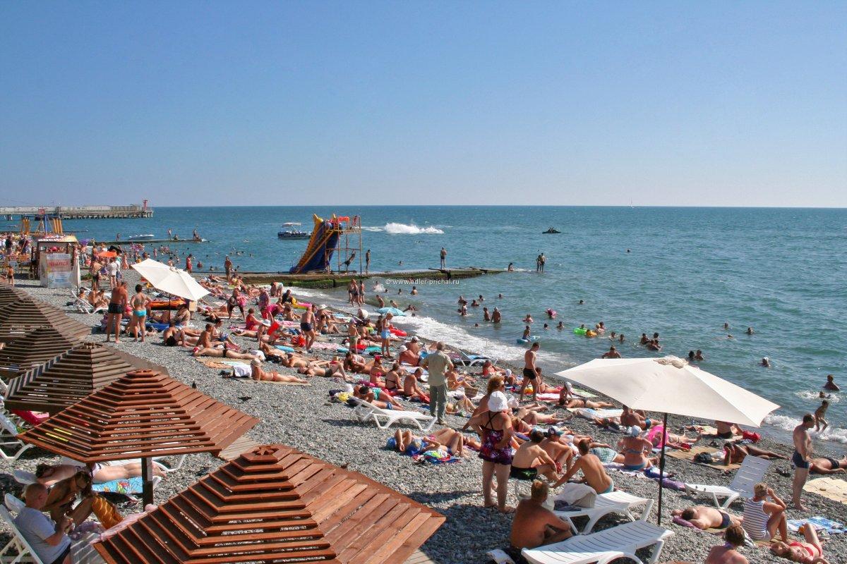 Пляж, курорт Адлер