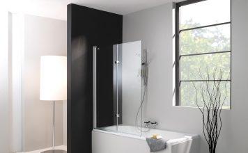 стильная стеклянная шторка для ванной