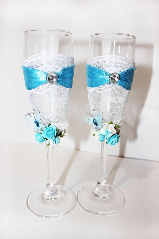 Идея для свадебных бокалов своими руками фото 219
