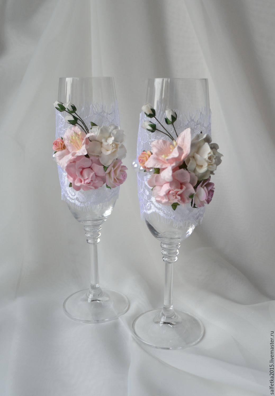 Украшение свадебных бокалов своими руками фото 544