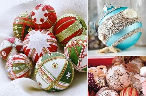 Новогодние украшения, декорированные бусинами