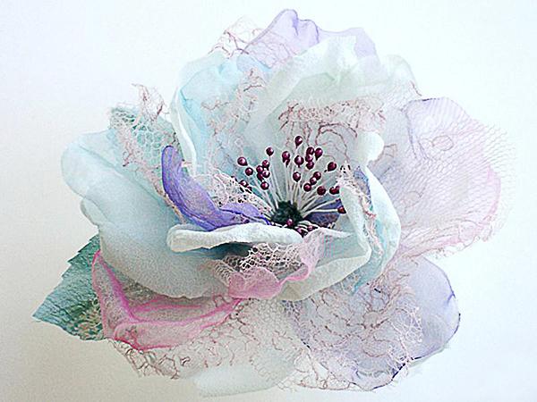 Большие цветы из органзы своими руками фото 487