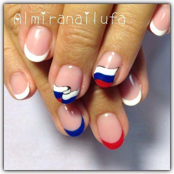 цвета российского флага в маникюре