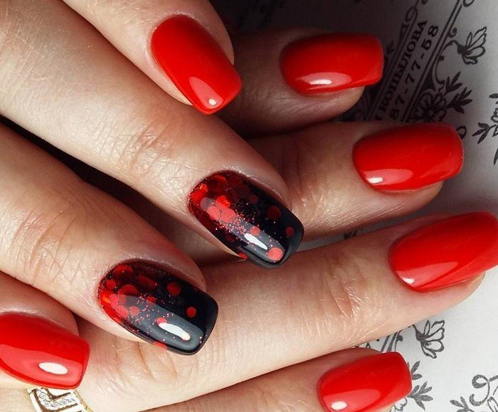 Красный на ногтях фото 2018 новинки