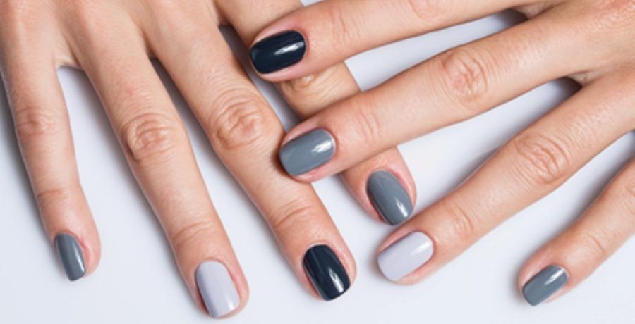 Оттенки серого на ногтях