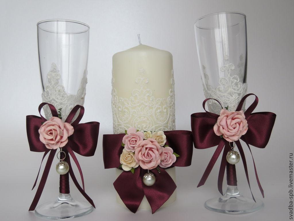 Как украсить свадебные бокалы своими руками из лент фото 213