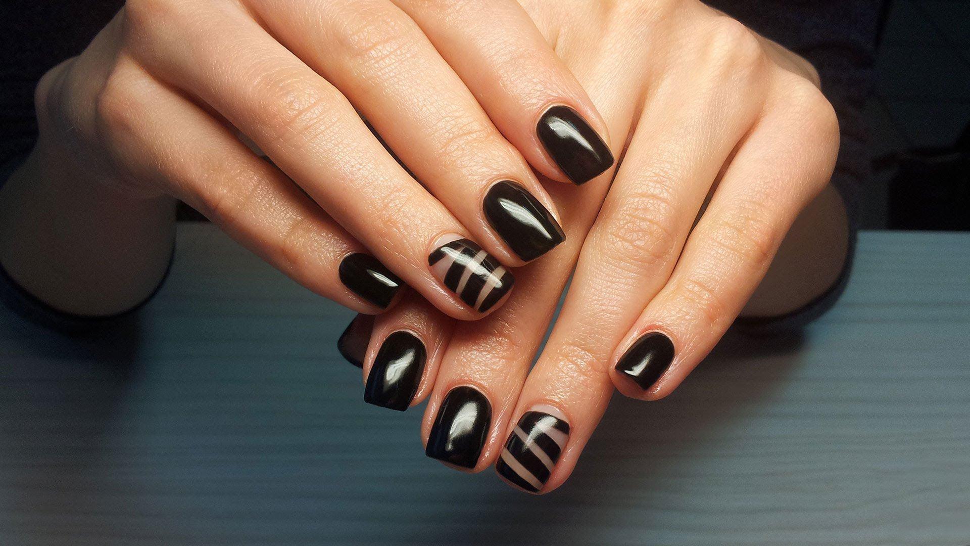 Черный Шеллак На Короткие Ногти Фото
