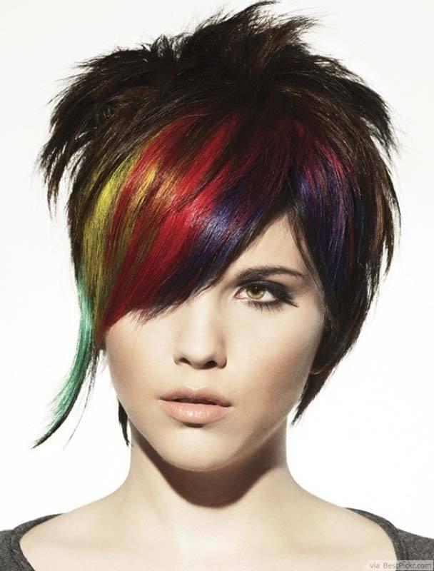 цветные пряди в волосах коротких фото ожог губы всегда