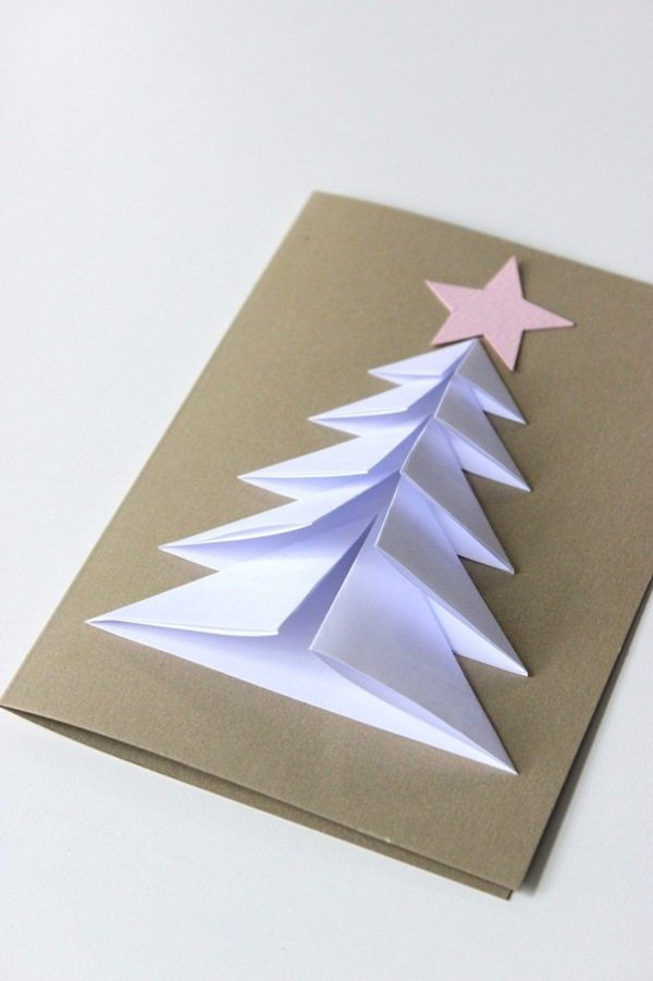 Елка оригами открытка
