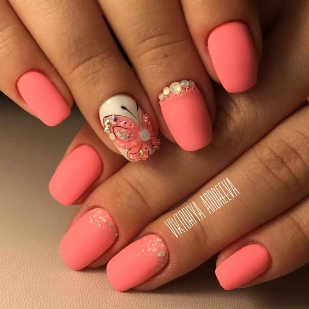 Гель лак розовый дизайн ногтей фото