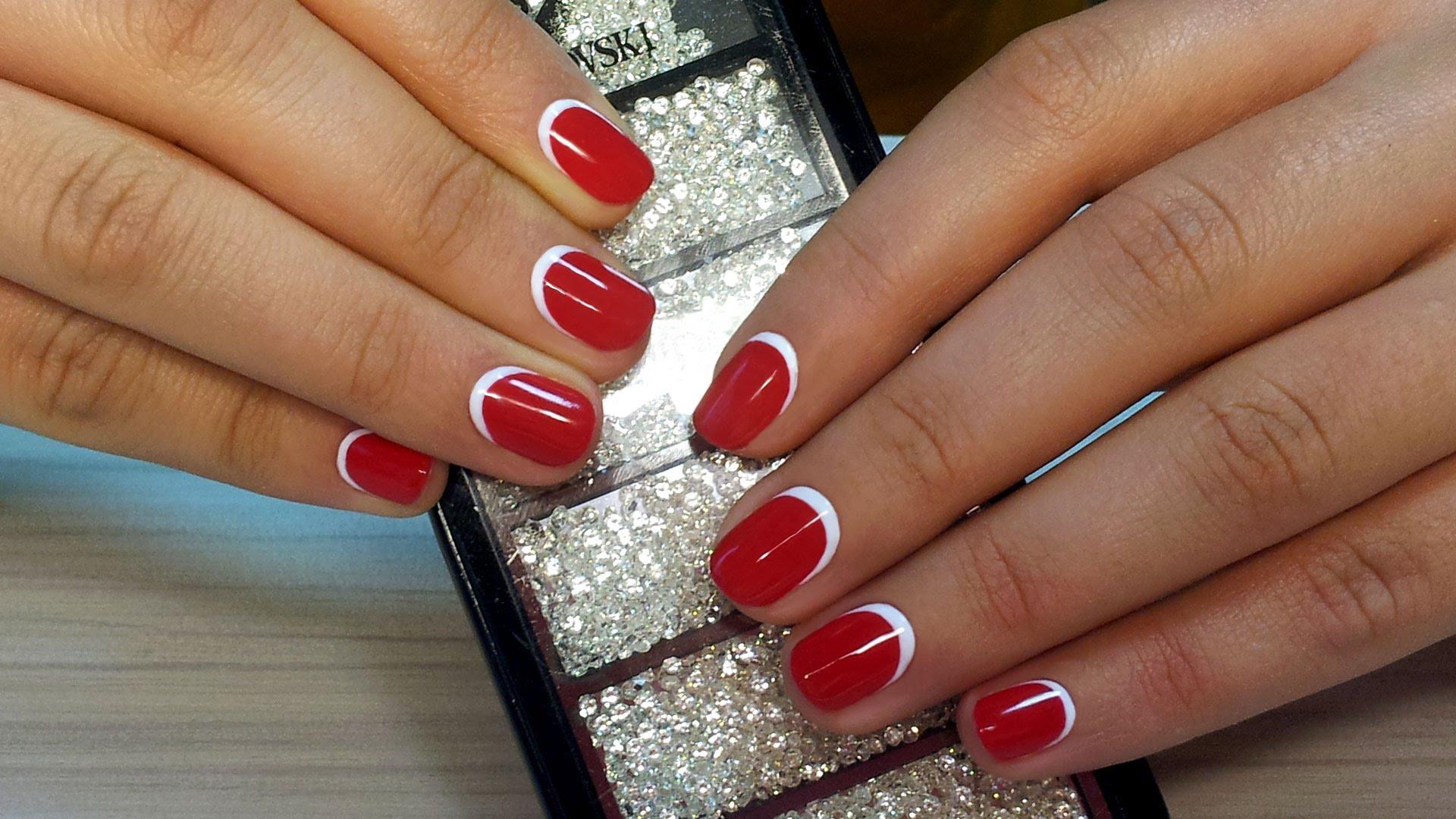 Красный Шеллак С Дизайном На Короткие Ногти