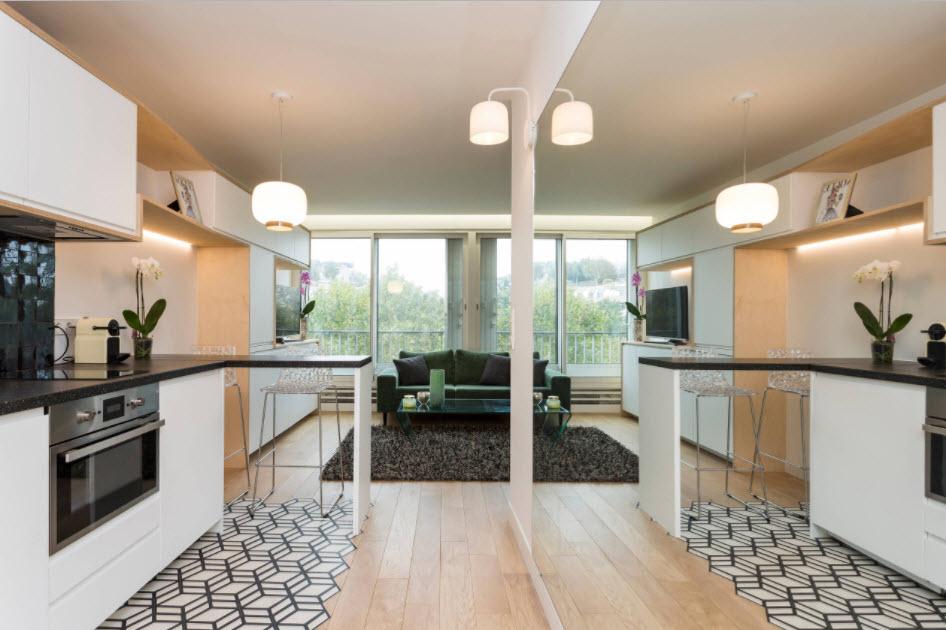 Дизайн-проект кухни, совмещённой с гостиной - идеи на фото | 630x946