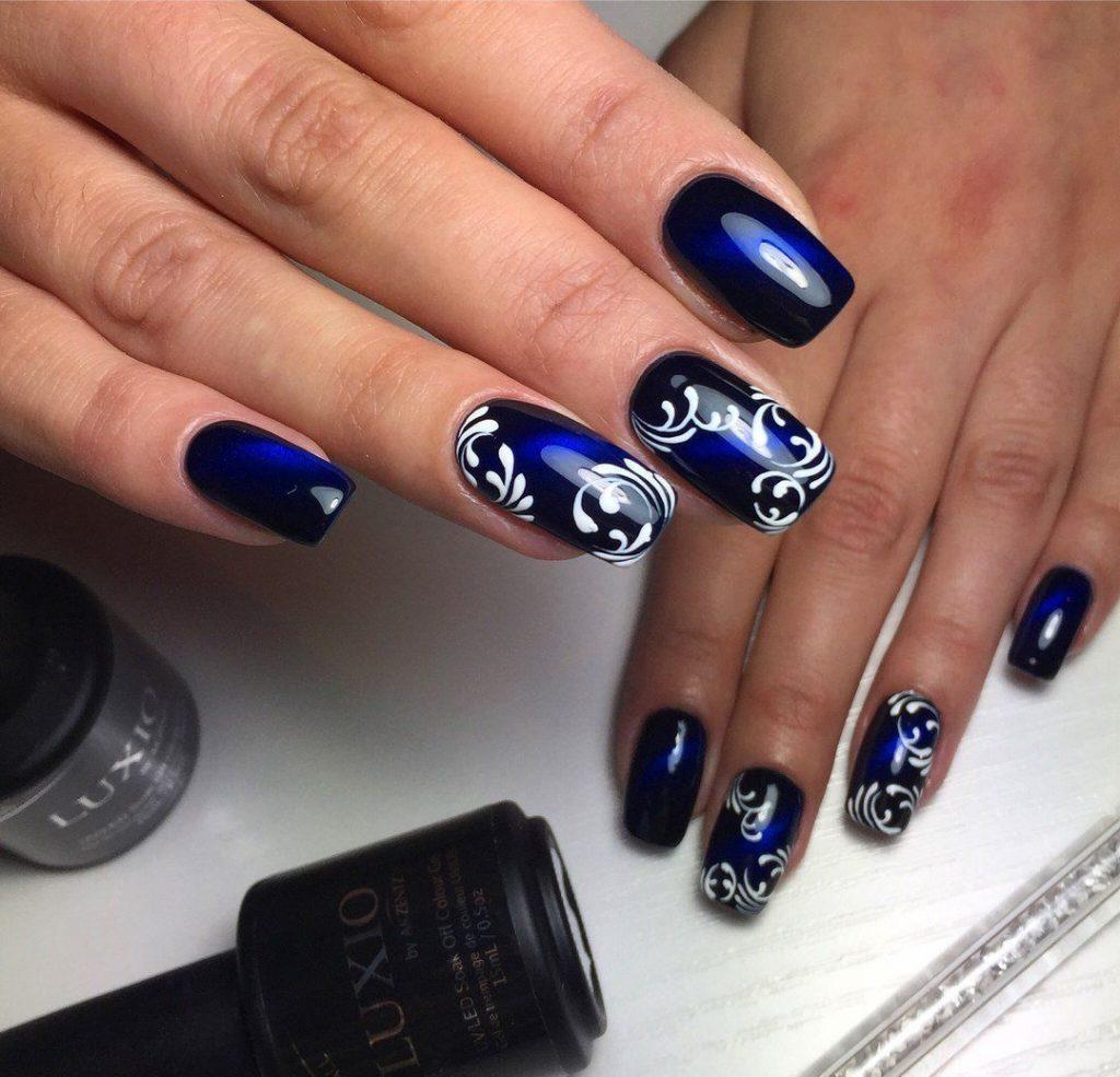 наращивание ногтей в синем цвете фото дизайн песня америкосовская