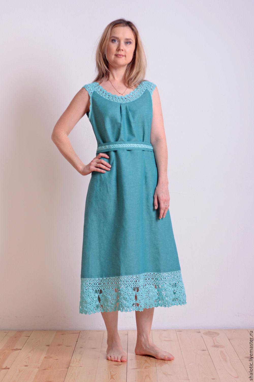 57051912f9d Чаще всего льняные платья выполняются в свободном простом крое средней  длины или в пол. Именно поэтому наряды из льна подходят подавляющему  большинству ...