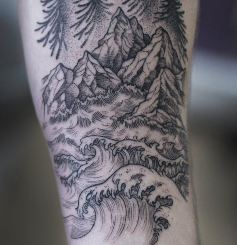 лес на предплечьях