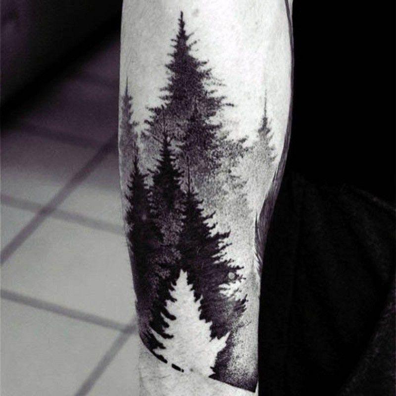 мужская тату лес