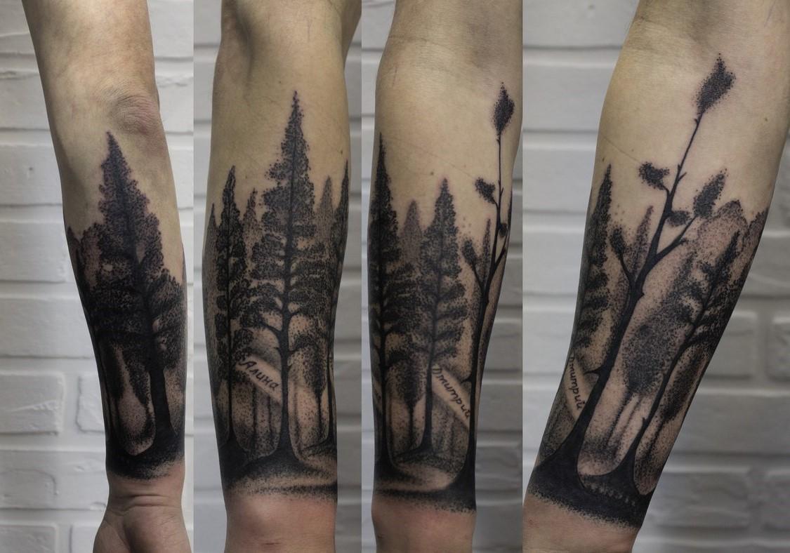 тату графика лес