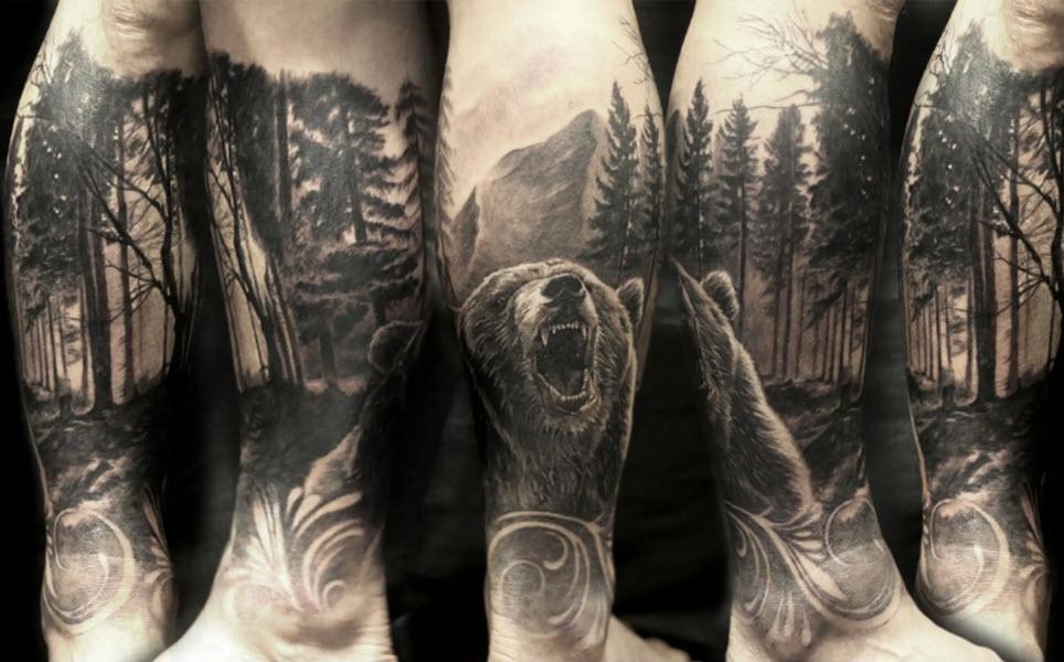 тату лес и медведь для мужчин