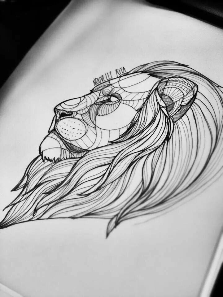 эскиз головы льва для плеча