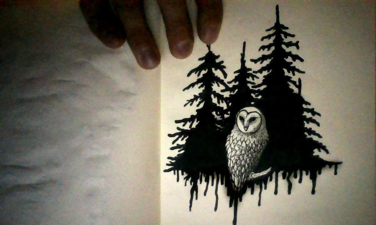 эскиз тату лес и сова