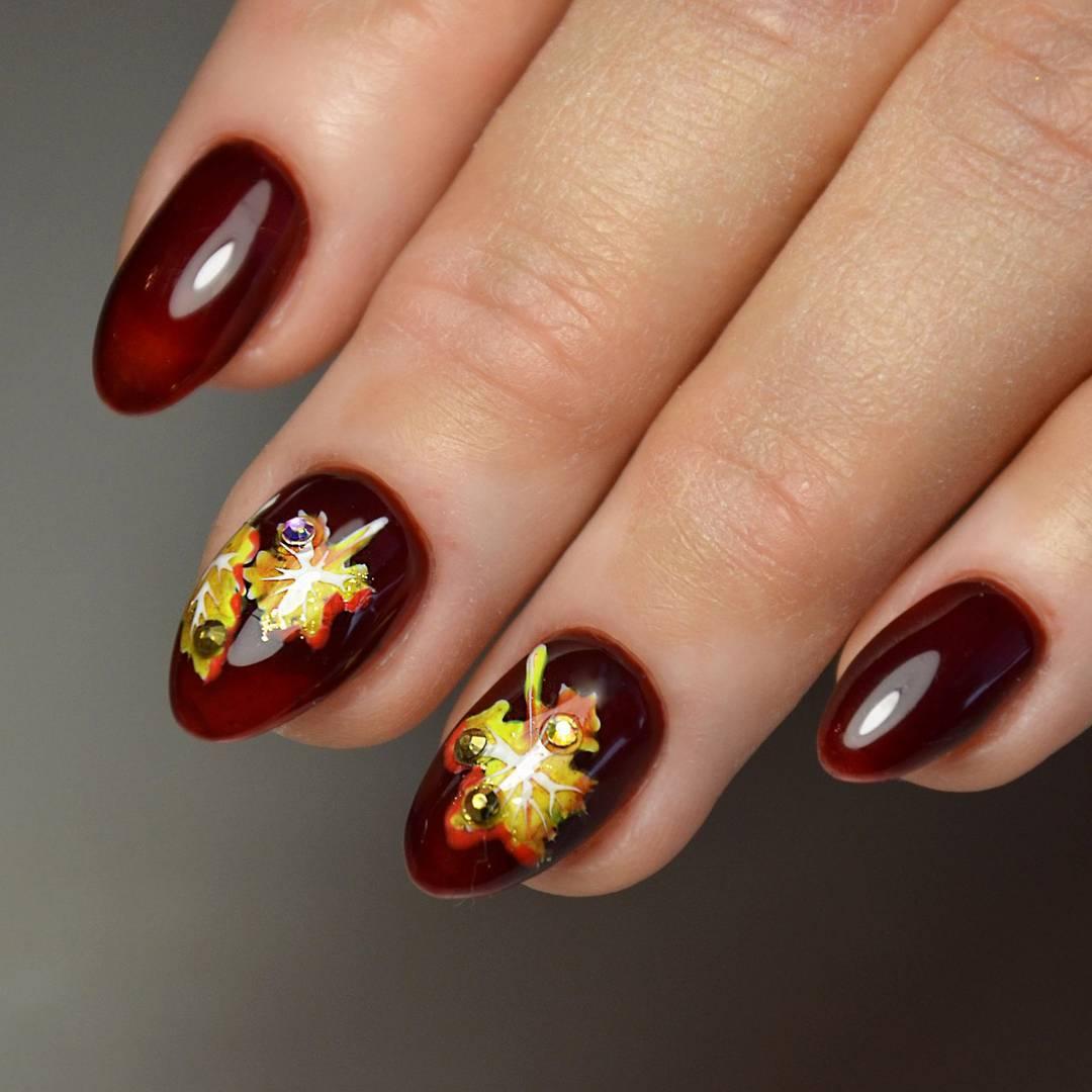 дизайн ногтей осень шеллак фото дереву
