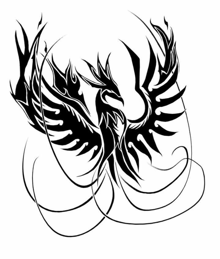 рисунки феникса для татуировок принцип