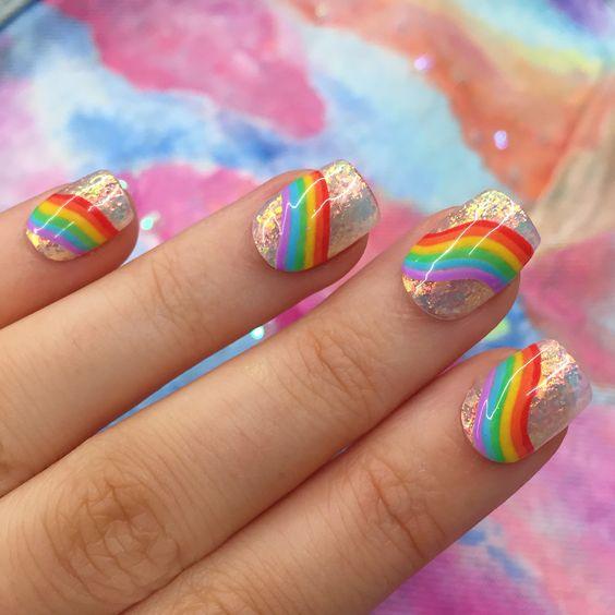 Tęczowy Manicure Jasne Kolory W Kolorze Paznokci