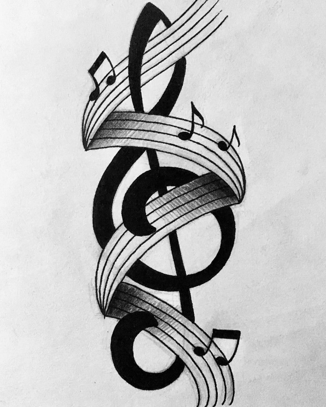 Картинки тату музыкальный ключ