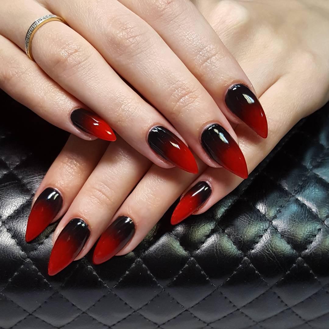 Маникюр черно красное сочетание