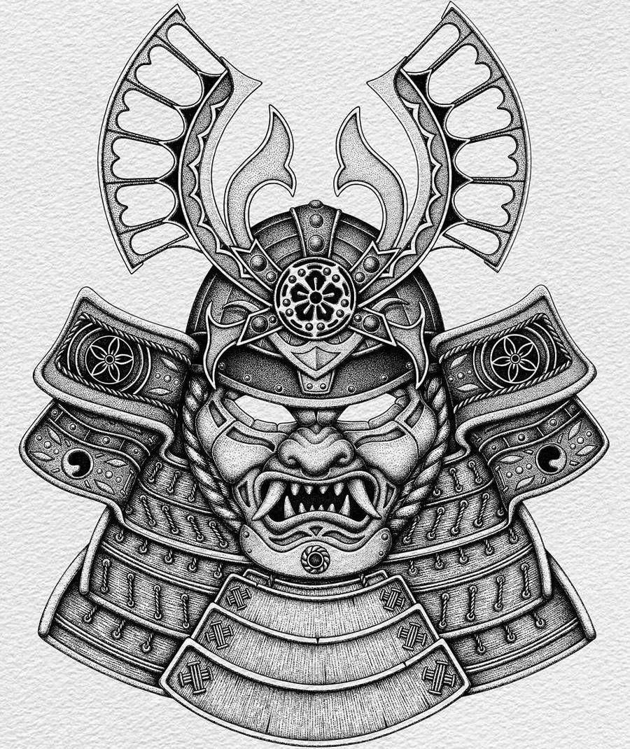 картинки для тату в виде самурая свадьбу отмечаете