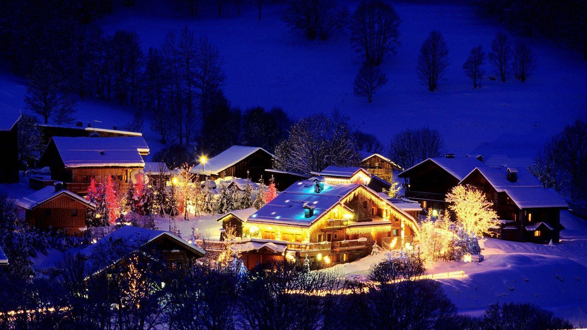 Картинка новогодняя деревня