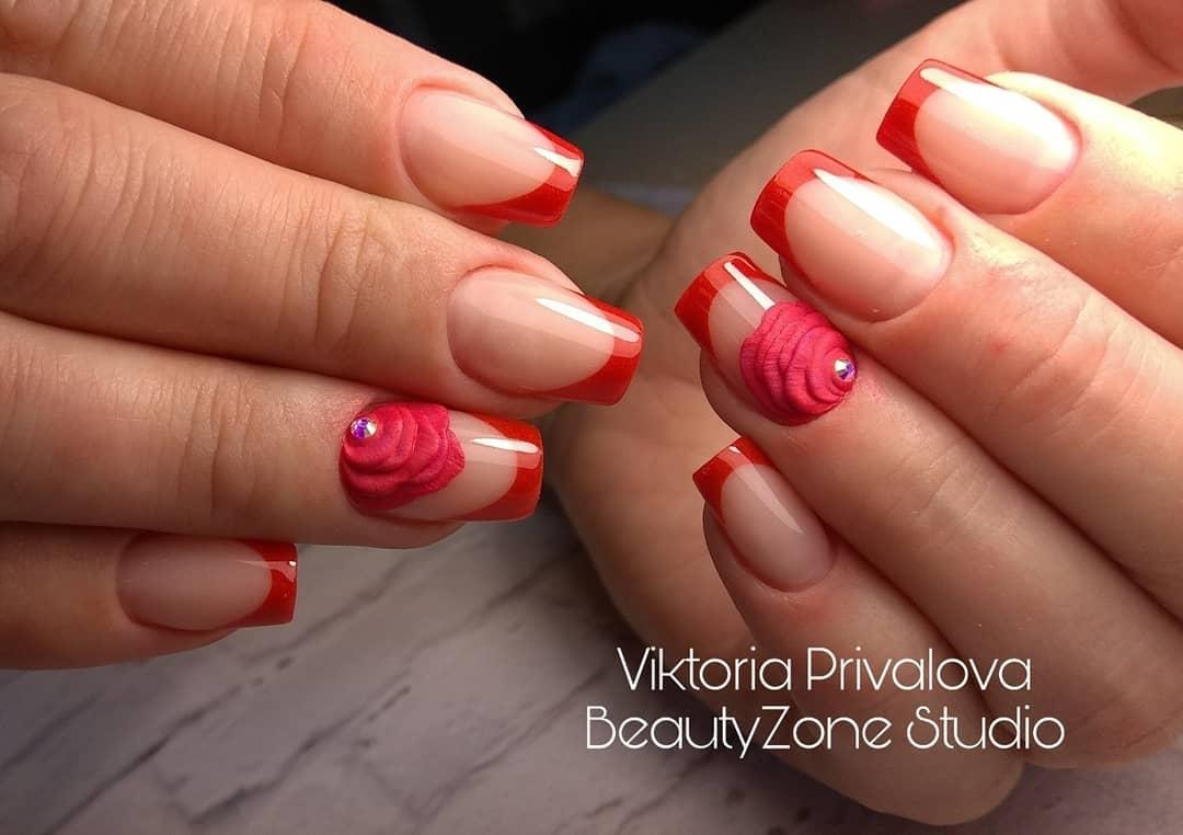 Красный френч на ногтях: 24+ фото идей, новинок дизайна ...