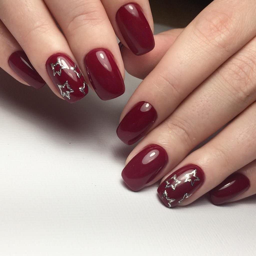 Дизайн ногтей бордовым гель лаком фото
