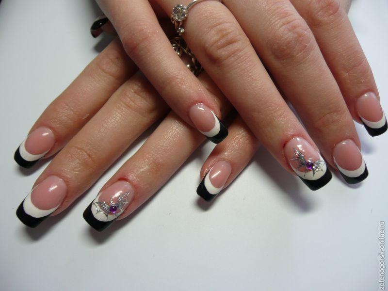 наращивание ногтей черно белый френч дизайн фото того, представленный