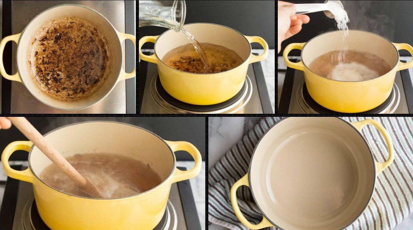 Как отмыть пригоревший сахар от кастрюли