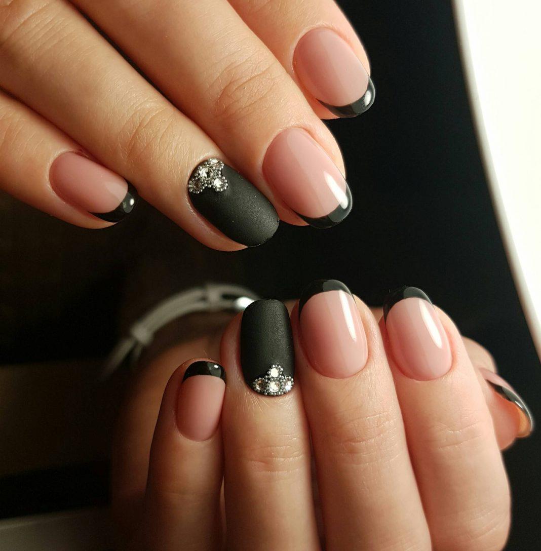 дизайн ногтей фото френч чёрный